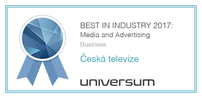 Česká televize získala speciální ocenění BEST IN INDUSTRY 2017: Media and Advertising pro studenty ekonomických oborů.